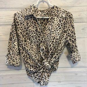 Chico's Leopard print button Down Shirt medium